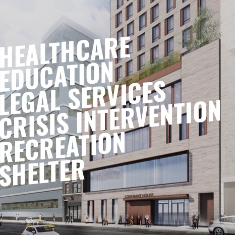 Photo of building with headlines of Healthcare, Education, Legal Services, Crisis Intervention, Recreation, Shelter